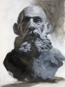 painting of bearded man sculpture