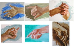 painted hand studies