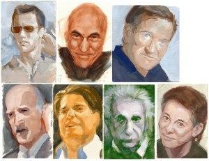 gouache portrait studies from sketchbook