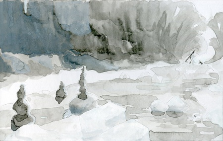 Creeks gouache sketch