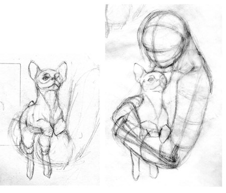 sketches of puppy being held